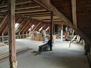 Podkroví internátu – prostory pro nové učebny